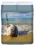 Sprouting Coconut Washed Up On Beach Duvet Cover by Naki Kouyioumtzis