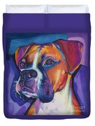 Square Boxer Portrait Duvet Cover by Robyn Saunders