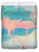 Square Format - Pink Flamingos Retro Pop Art Nouveau Tropical Bird 80s 1980s Florida Painting Print Duvet Cover