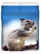Squirrel Enjoying Lunch On The Beach Duvet Cover