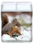 Squirrel In Snow Duvet Cover