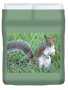 Squirrel On The Grass Duvet Cover
