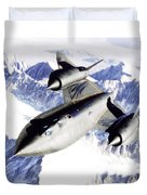 Sr-71 Over Snow Capped Mountains Duvet Cover