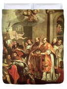 St. Bernard Of Clairvaux 1090-1153 And William X 1099-1137 Duke Of Aquitaine Oil On Canvas Duvet Cover