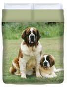 St Bernard With Puppy Duvet Cover