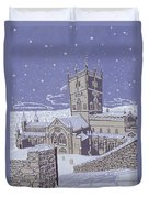 St David S Cathedral In The Snow Duvet Cover by Huw S Parsons