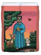 St. Francis Animal Saint Duvet Cover by Victoria De Almeida