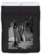 St Francis In Black And White Duvet Cover
