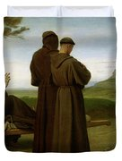 Saint Francis Of Assisi, While Being Carried To His Final Resting Place At Saint-marie-des-anges Duvet Cover