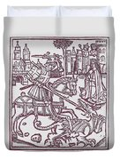 St. George - Woodcut Duvet Cover