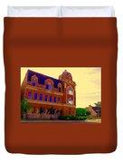 St Henri Poste De Pompiers Bureau De Poste Historic Montreal Art City Scenes Carole Spandau  Duvet Cover