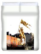 St Joan Of Arc Statue At Dawn Duvet Cover