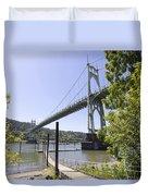 St Johns Bridge Over Willamette River Duvet Cover