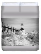 St. Joseph Lighthouse In Ice Field Duvet Cover