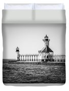 St. Joseph Lighthouses Black And White Picture  Duvet Cover