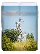 St. Joseph Michigan And You Seas Metal Sculpture Duvet Cover by Paul Velgos