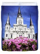 St. Louis Cathedral And Flowers In New Orleans Duvet Cover by Paul Velgos