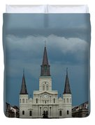 St Louis Cathedral Under Storm Clouds Duvet Cover
