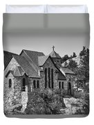 St Malo Chapel On The Rock Colorado Bw Duvet Cover