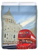 St. Paul Cathedral And London Bus Duvet Cover