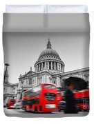 St Pauls Cathedral In London Uk Red Buses In Motion Duvet Cover