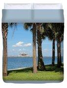 St Pete Pier Through Palm Trees Duvet Cover by Carol Groenen