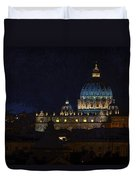 St Peters Basilica At Night Duvet Cover