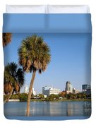 St Petersburg Florida From Mirror Lake Park Duvet Cover