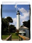 St. Simon's Island Georgia Lighthouse Painted Duvet Cover