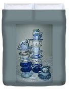 Stack Of Blue Teacups  Duvet Cover
