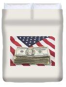 Stack Of Money On American Flag  Duvet Cover