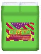 Stack Of Money On American Flag Pop Art Duvet Cover
