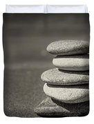 Stacked Pebbles On Beach Duvet Cover