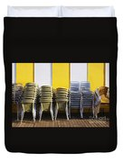 Stacks Of Chairs And Tables Duvet Cover by Carlos Caetano
