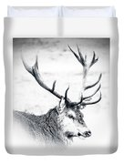 Stag In Black And White Duvet Cover