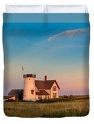 Stage Harbor Lighthouse Square Duvet Cover by Bill Wakeley