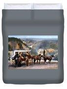 Stagecoach Near Upper Falls Duvet Cover