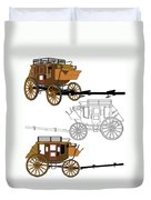 Stagecoach Without Horses - Color Sketch Drawing Duvet Cover