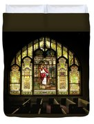 Stain Glass Behold I Stand At The Door And Knock Duvet Cover