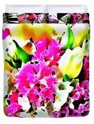 Stain Glass Framed Florals Duvet Cover