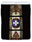 Stained Glass 3 Panel Vertical Composite 01 Duvet Cover by Thomas Woolworth