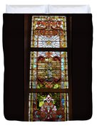 Stained Glass 3 Panel Vertical Composite 02 Duvet Cover by Thomas Woolworth