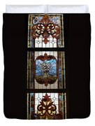Stained Glass 3 Panel Vertical Composite 04 Duvet Cover by Thomas Woolworth
