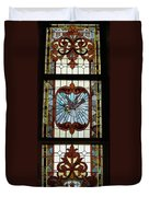 Stained Glass 3 Panel Vertical Composite 05 Duvet Cover by Thomas Woolworth