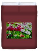 Stained Glass Chrysanthemum Flowers Duvet Cover