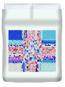 Stained Glass Colorful Cross Duvet Cover