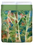 Stained Glass Forest In Spring Duvet Cover