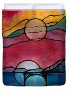 Stained Glass Moonrise Duvet Cover