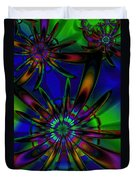 Stained Glass Passion Flowers Duvet Cover