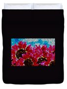 Stained Glass Red Sunflowers Duvet Cover